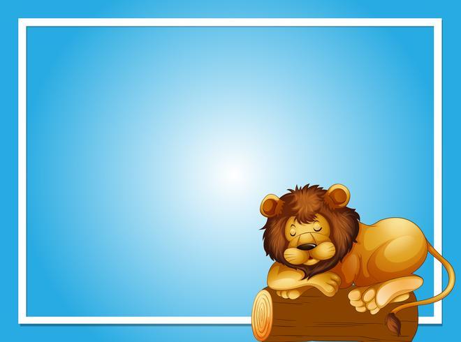Modèle de cadre avec lion endormi
