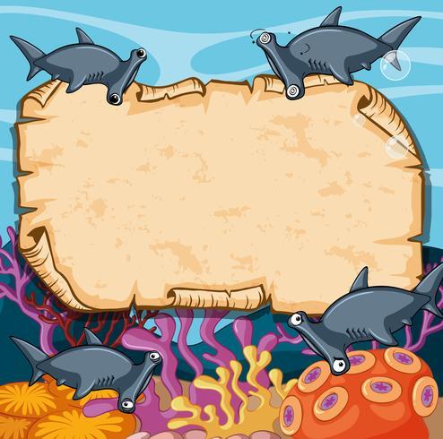 Plantilla de banner con tiburones martillo