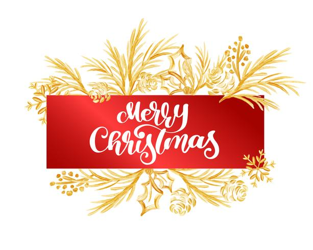 Mande un SMS a la Feliz Navidad en una etiqueta roja en el fondo de una rama del oro. Cartel de tipo caligráfico de Navidad a mano letras