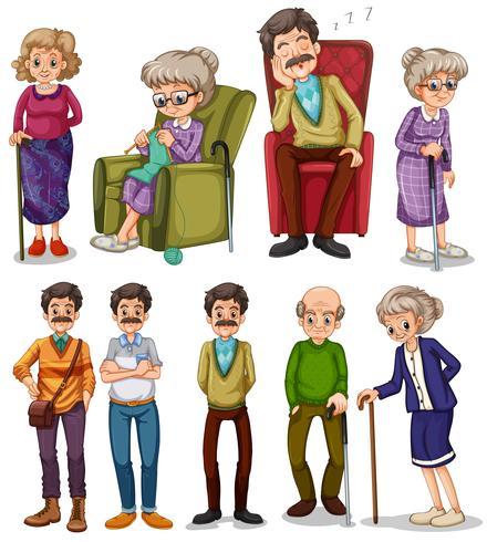 Oude mannen en vrouwen in verschillende acties