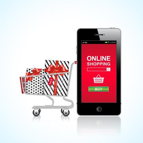 Einkaufswagen und Geschenke Online-Shopping