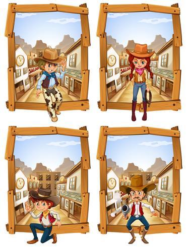 Quattro scene di cowboy e cowgirl