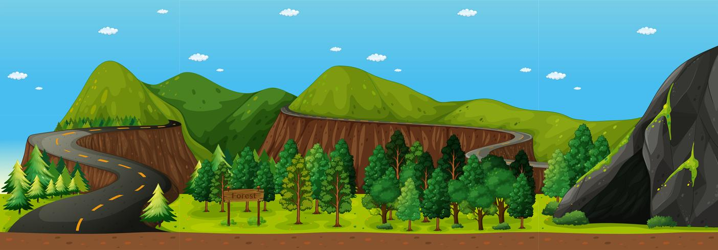 Escena con caminos hacia la montaña.