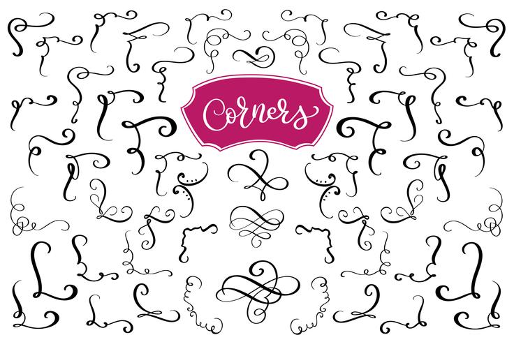 Hand drawn swirl and flourish corners. Calligraphic design elements. Vintage Vector Illustration