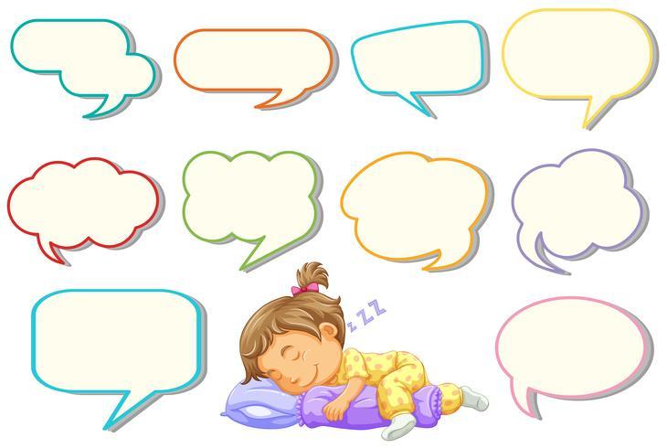 Mädchen, das mit unterschiedlichem Spracheballon schläft