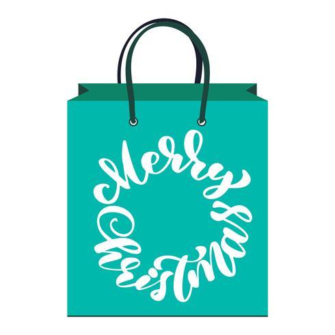 tekst Merry Christmas handgeschreven kalligrafie letters op het pakket. handgemaakte vectorillustratie. Fun brush inkt typografie voor foto overlays, tas, t-shirt print, flyer, posterontwerp
