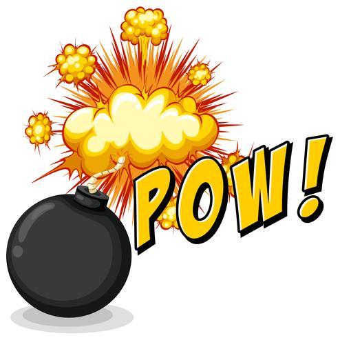 Word pow with bomb explosive vector
