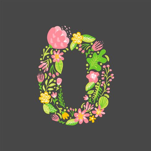 Blumensommer Nummer 0 Null. Blume Hauptstadt Hochzeit Alphabet. Bunter Guss mit Blumen und Blättern. Vektorillustration skandinavische Art