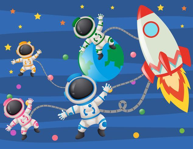 Astronautas volando en el espacio vector