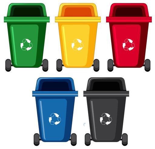 Abfallbehälter in fünf verschiedenen Farben