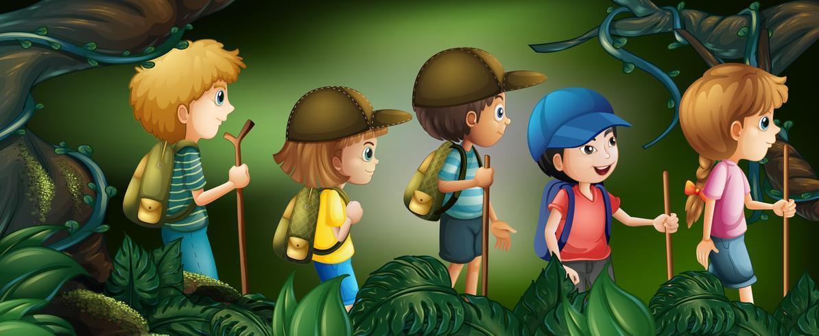 Cinq enfants en randonnée dans les bois vecteur