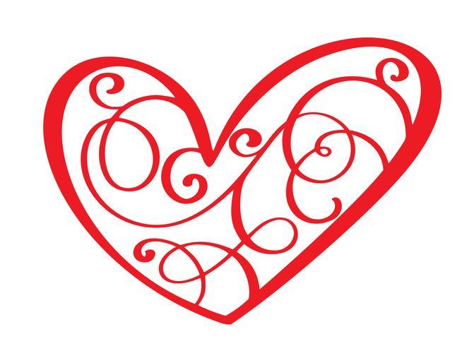 Weinleseherz für Valentinsgrüße und Hochzeitstagvektorillustration als Gestaltungselement. Fun-Brush-Ink-Typografie für Foto-Overlays, T-Shirt-Druck, Flyer, Plakatgestaltung
