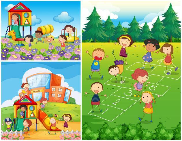 Niños felices jugando en el patio vector