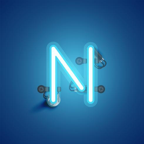 Blauer realistischer Neoncharakter mit Drähten und Konsole von einem fontset, Vektorillustration