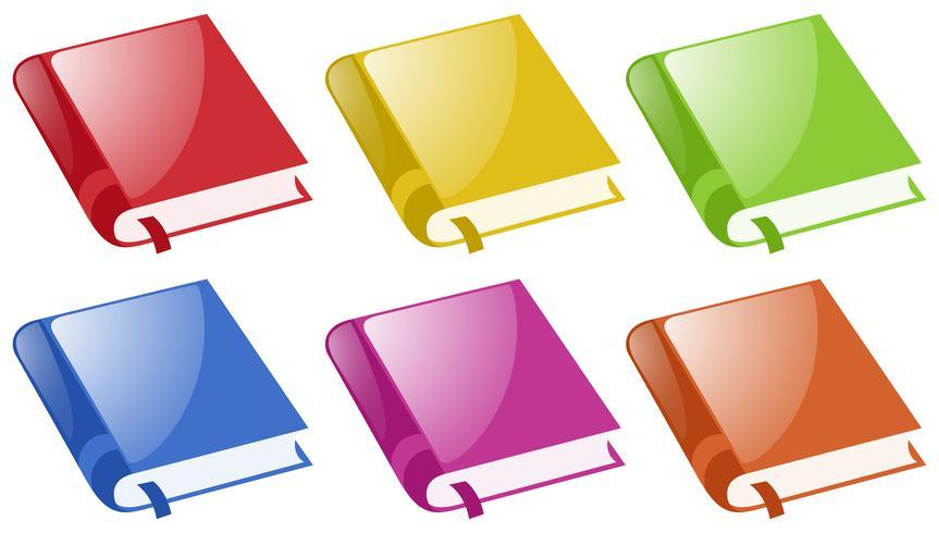Libros en seis colores diferentes. vector