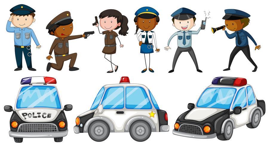 Policías y coches de policía.
