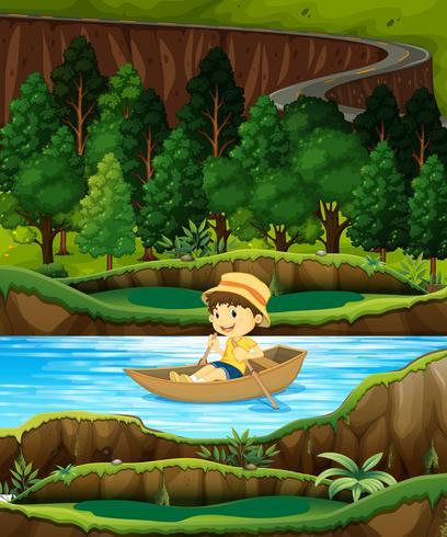 Garçon dans une barque sur un ruisseau
