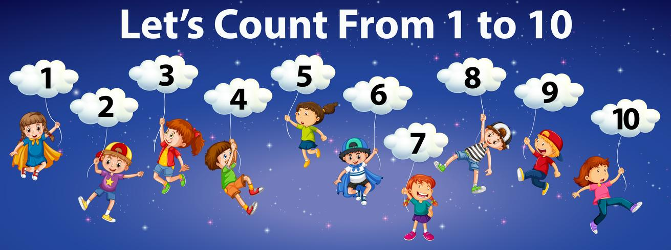 Mathematics count number to 10 vector