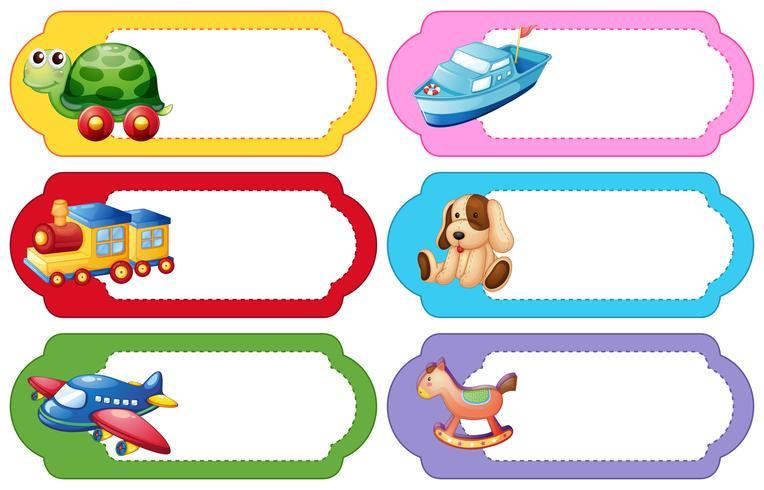 Etikettdesign med olika leksaker