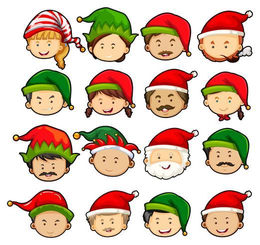 Gens en chapeaux noël