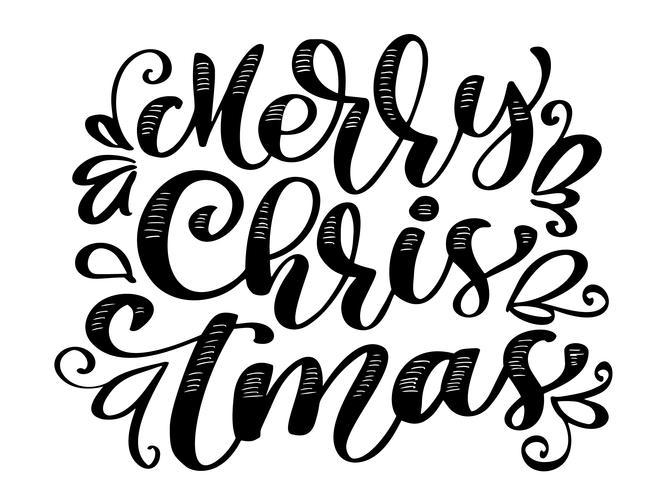 Letras de caligrafía de texto feliz Navidad escrito a mano. ilustración vectorial hecha a mano. Divertida tipografía con tinta de pincel para superposiciones de fotos, estampado de camisetas, diseño de póster vector