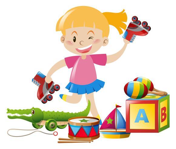 Chica y muchos juguetes en el suelo.