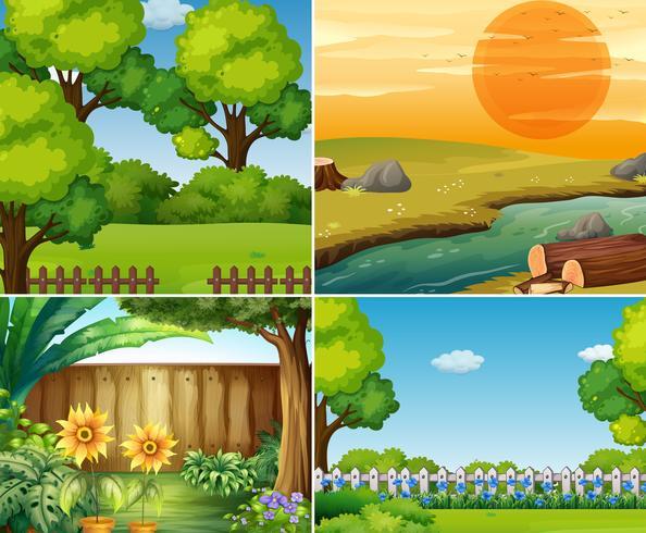 Vier Gartenszenen mit Bäumen