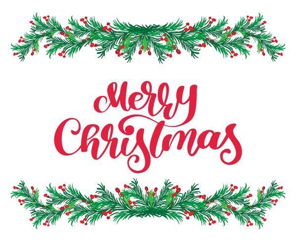 El texto y el vintage rojos de las letras de la caligrafía de la Feliz Navidad florecen marco verde de las ramas de árbol de abeto. Ilustración vectorial vector
