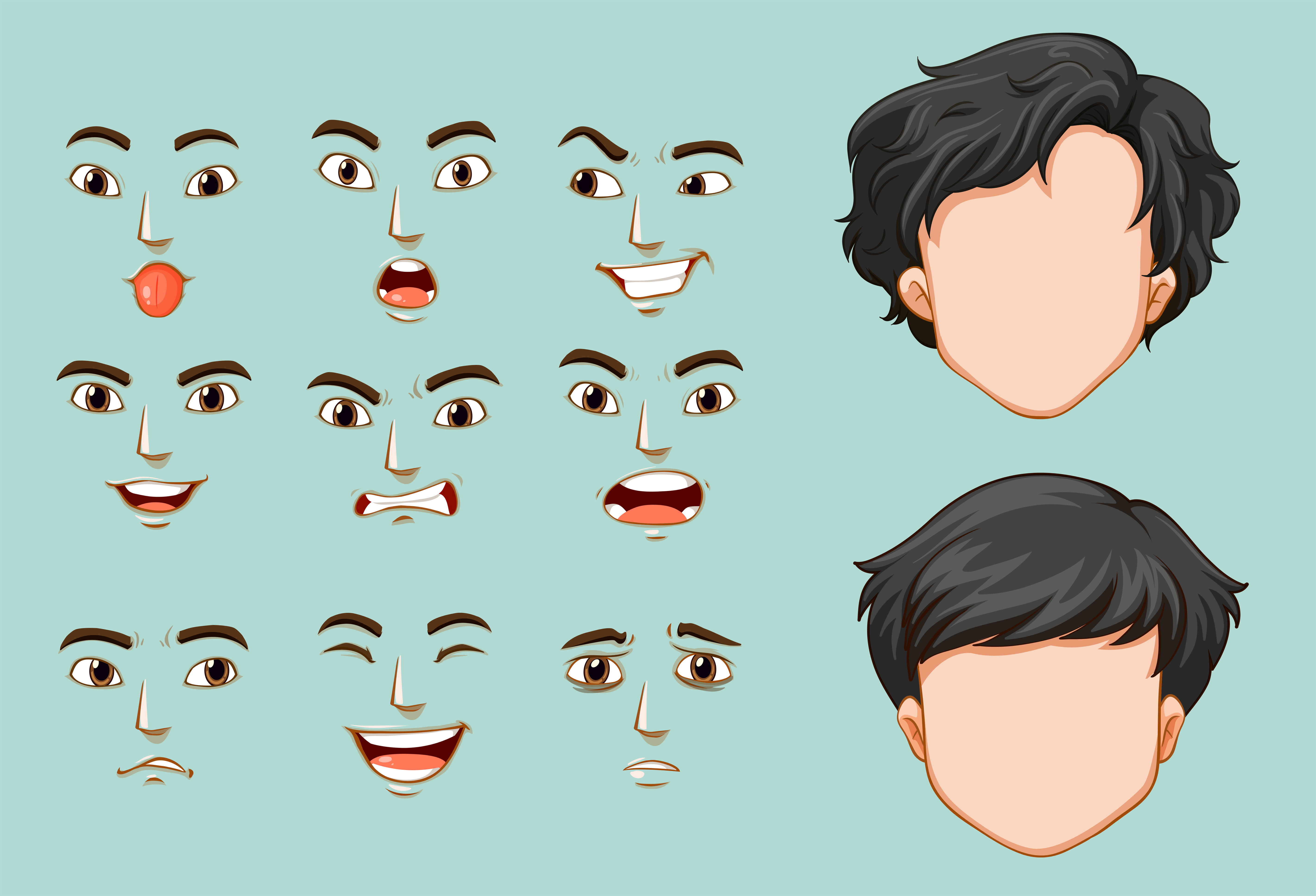 Faceless man and different faces with emotions 413749