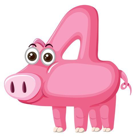 Nettes Schwein Nummer vier Zeichen