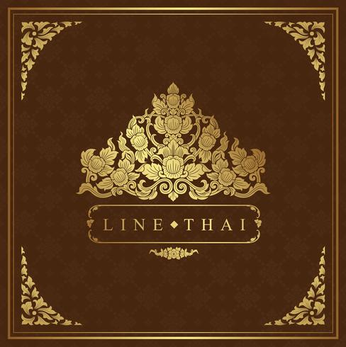 Templo de lujo de arte tailandés y patrón de fondo vector