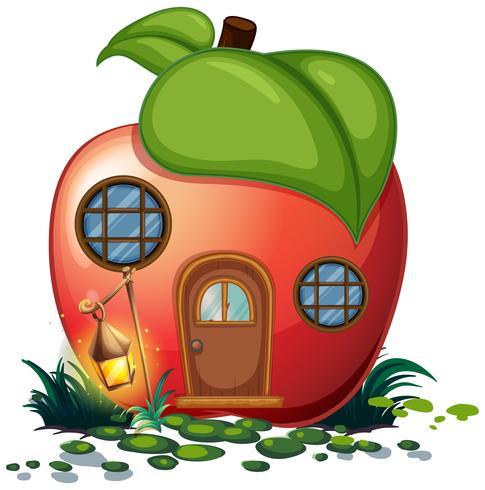 Casa de manzana con linterna vector