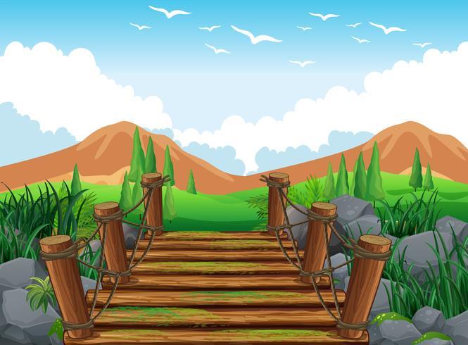 Paisaje de montaña mirando desde el puente