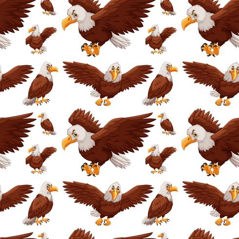 Seamless background with eagles flying