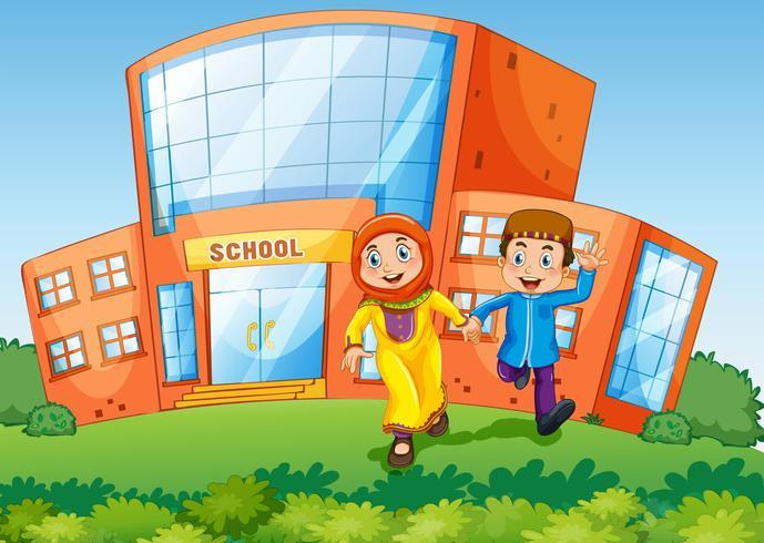 Schoolscène met twee moslimkinderen