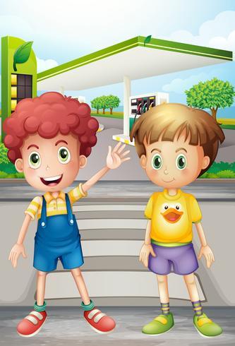 Dos niños pequeños cerca de la estación de gasolina vector