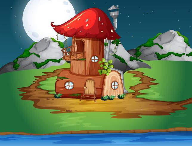 Paddestoelen houten huis in de natuur