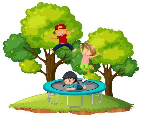 Children jumping on trampoline vector