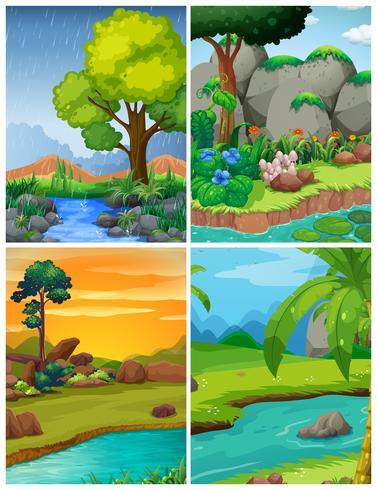 Quattro scene di foresta con fiumi