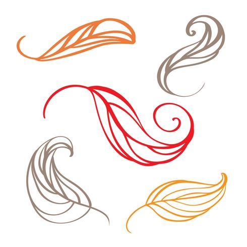 Conjunto de hojas de doodle de otoño de color. Ilustración vectorial