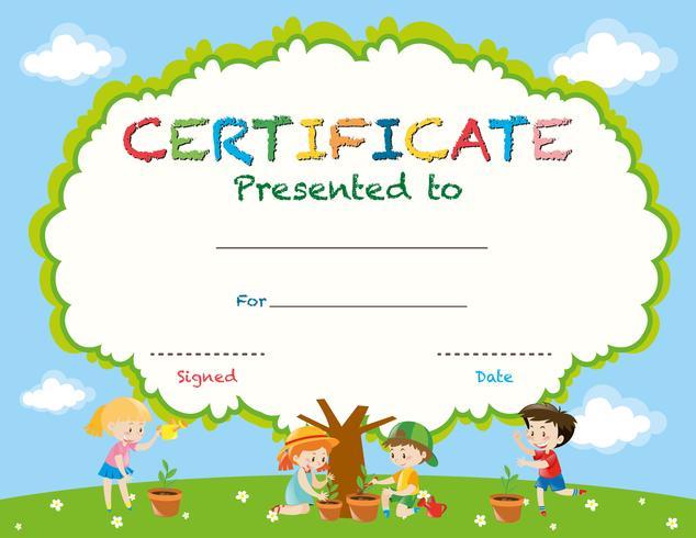 Zertifikatvorlage mit Kindern, die Bäume pflanzen