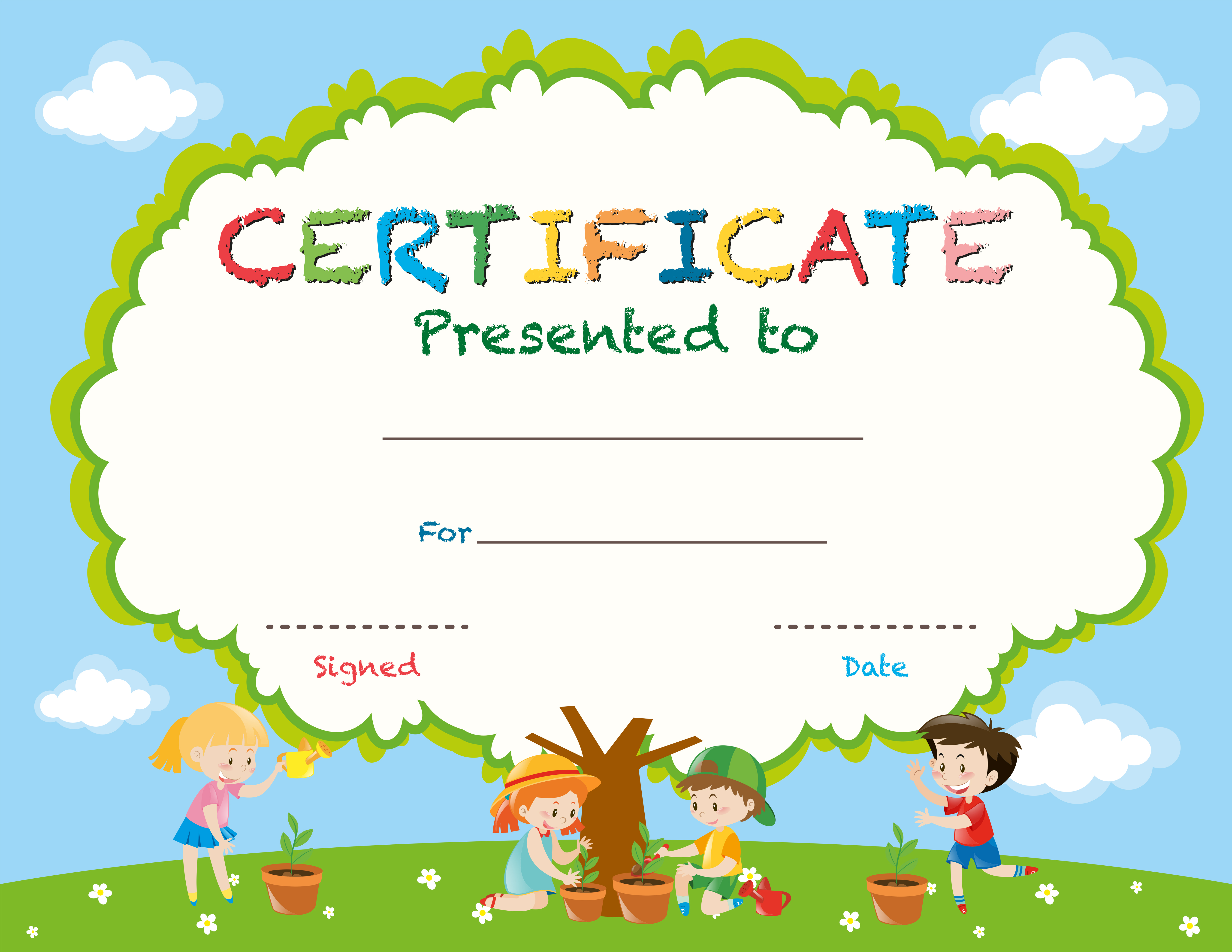 Unusual image with printable certificates for students