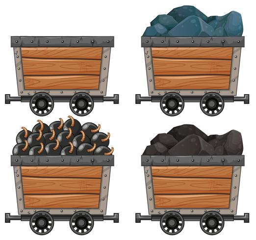 Mining carts with stones and bombs