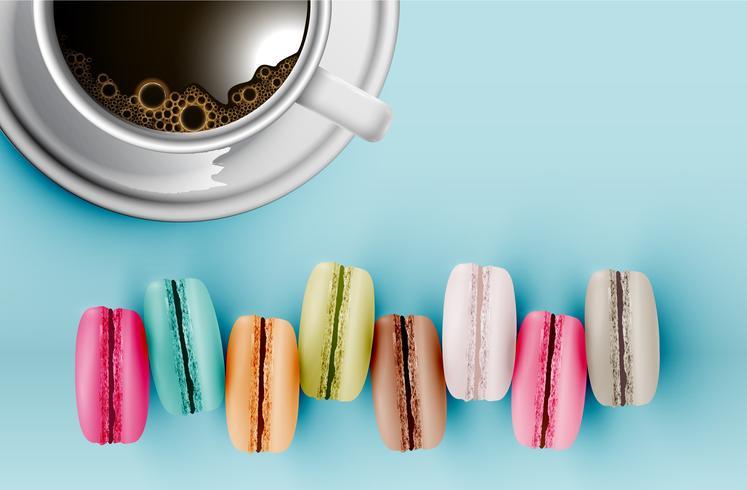 Macarons colorés haut détaillés sur fond bleu avec une tasse de café, illustration vectorielle