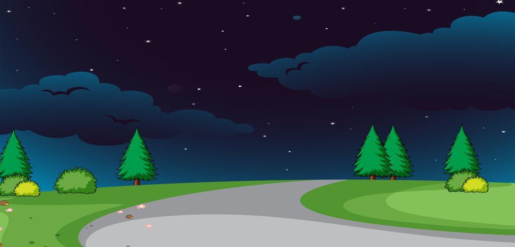 En naturväg på natten bakgrund