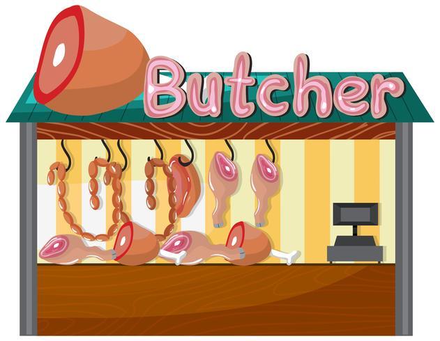 En Butcher Shop på vit bakgrund