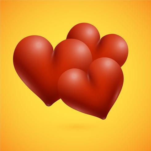 Rote hoch-ausführliche Herzen, Vektorillustration