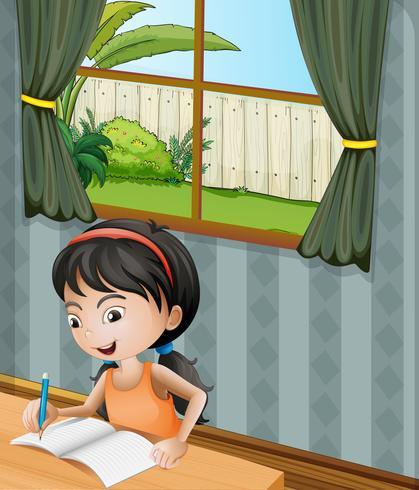 Ein Mädchen mit einem Stirnbandschreiben