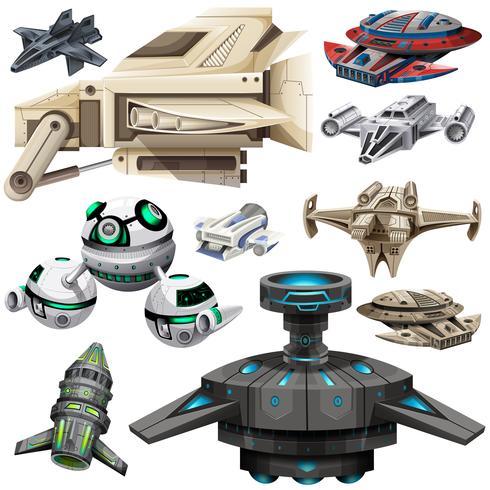 Unterschiedliches Design von Raumschiffen