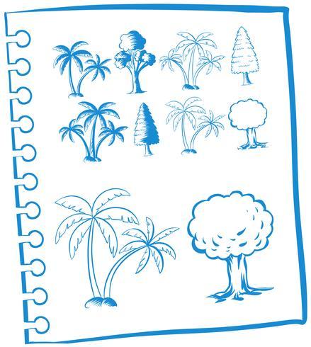 Doodles arbres de couleur bleue